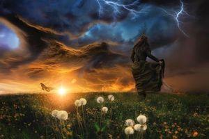 Бесплатные фото закат, поле, девушка, бабочка, гроза, молния, тучи