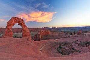 Фото бесплатно Delicate Arch after Sunset, Arches National Park, горы, скалы, арка, закат, пейзаж