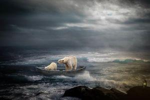 Бесплатные фото море,скалы,лодка,медведи,art