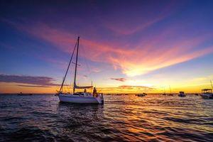 Обои море, закат, яхты, лодки