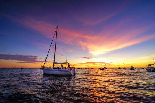 Фото бесплатно яхты, море, закат