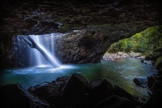 Фото бесплатно скалы, река, пещера