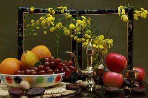 Бесплатные фото натюрморт,чайник,фрукты,рамка,яблоки,апельсины,виноград