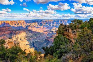 Бесплатные фото Grand Canyon National Park,горы,скалы,деревья,небо,облака,пейзаж