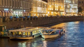 Boats on Moyka river, Saint-Petersburg