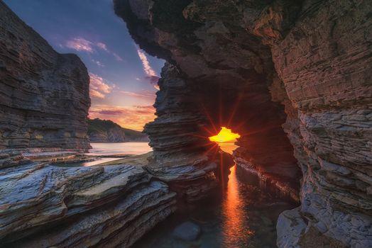 Бесплатные фото закат,море,скалы,арка,пейзаж