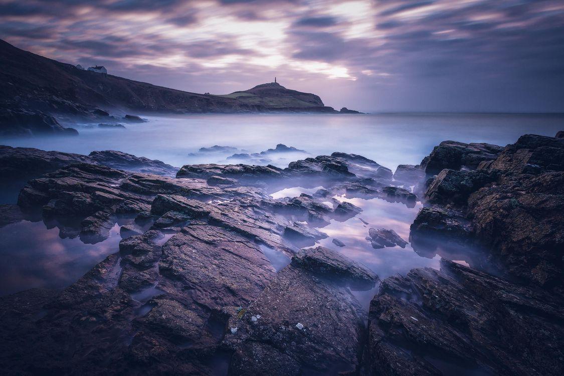 Фото бесплатно закат, море, скалы, камни, волны, пейзаж, пейзажи - скачать на рабочий стол