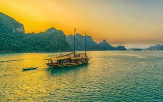 Заставки закат, море, скалы, горы, лодка, пейзаж