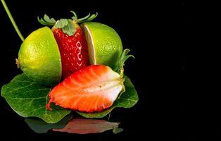 Бесплатные фото клубника,лайм,еда,фрукты,чёрный фон