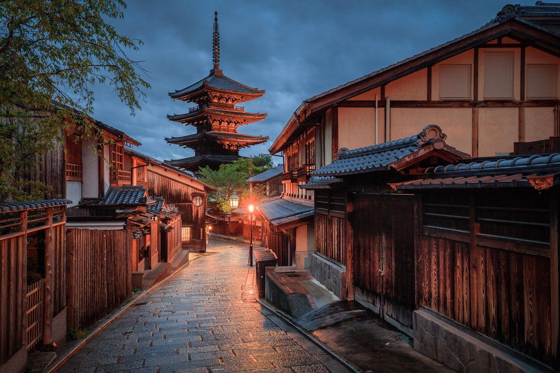 Фото бесплатно Япония, Киото, пагода, здание, дома, дорожка, ночь, пейзажи