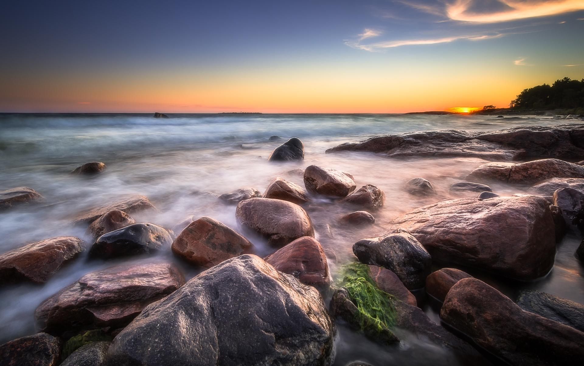 Обои закат, море, камни, волны