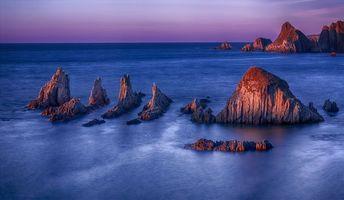 Фото бесплатно закат, море, скалы