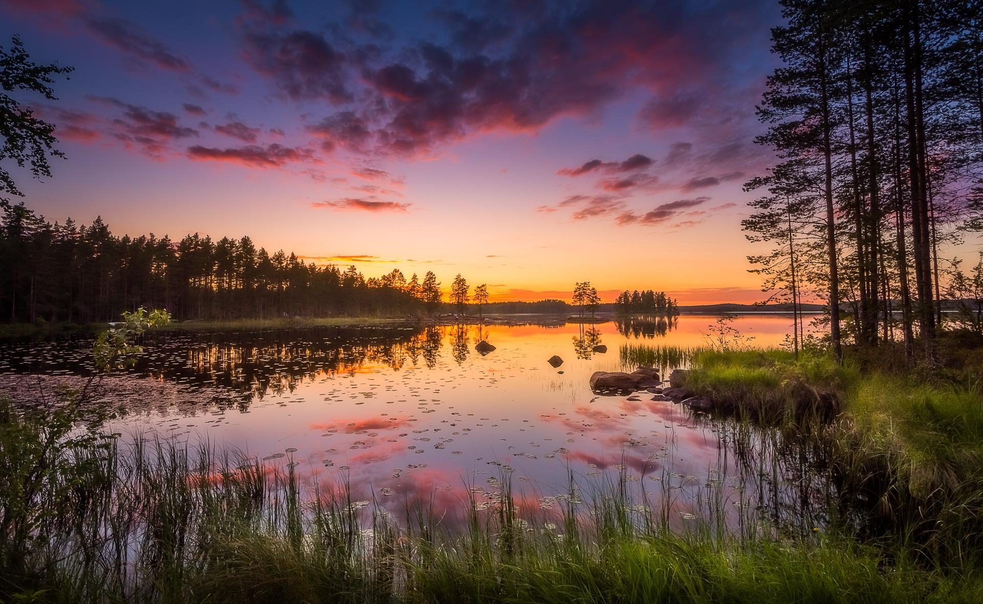 Обои закат, озеро, деревья, пейзаж