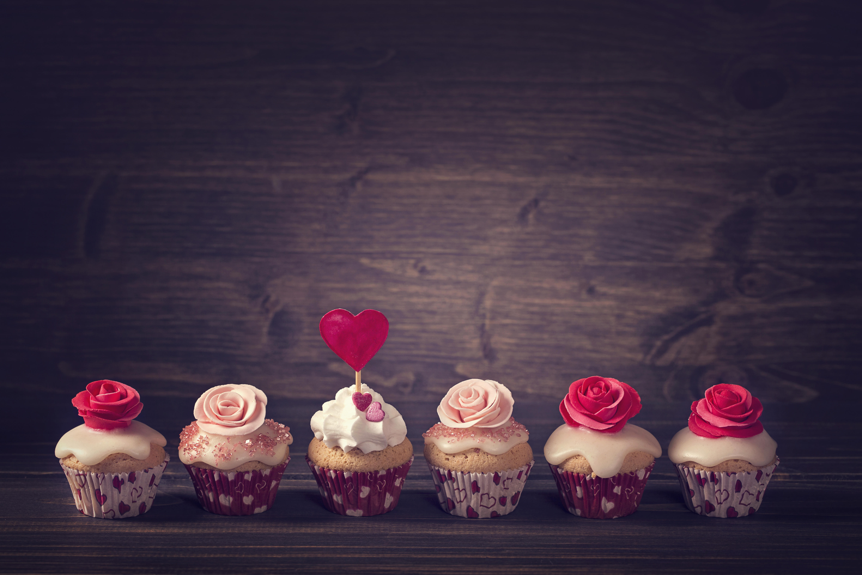 Обои brithday cake, украшение розы, кексы, еда