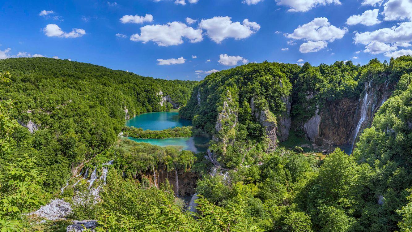 Фото бесплатно Plitvice Lakes National Park, Croatia, Национальный парк Плитвицкие озера, Хорватия, водопад, пейзаж, пейзажи