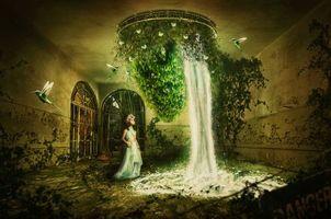 Бесплатные фото комната,водопад,девочка,птицы,фантастика
