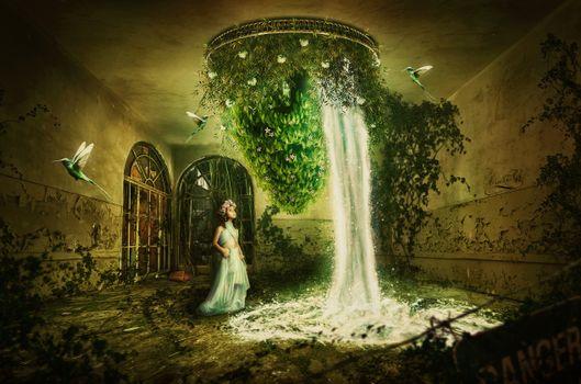 комната,водопад,девочка,птицы,фантастика