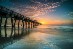 Бесплатные фото закат,море,берег,пирс,мост,небо,пейзаж