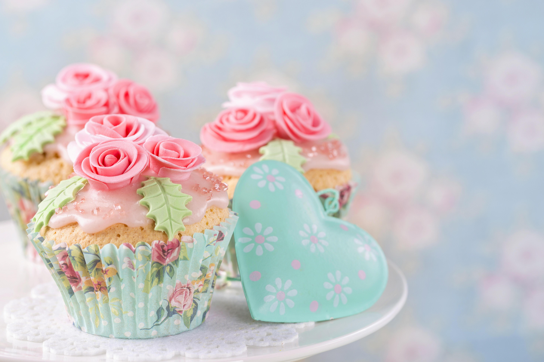 Обои brithday cake, украшение розы, кексы, крем