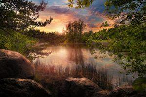 Фото бесплатно закат, озеро, деревья, камни, Швейцария, пейзаж