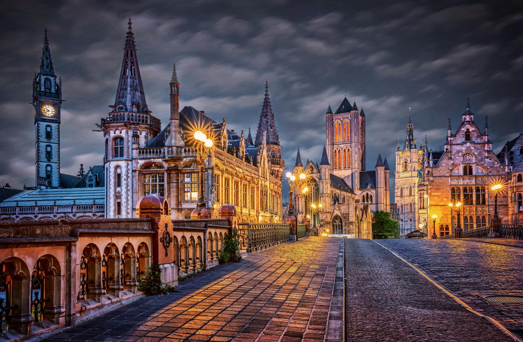 Гент, Бельгия, город, улица, ночь, огни, иллюминация