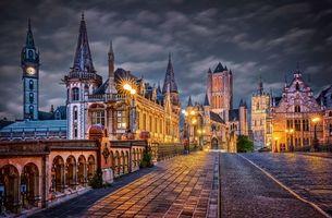 Фото бесплатно Гент, Бельгия, город, улица, ночь, огни, иллюминация