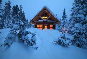Фото бесплатно домик, снег, лес