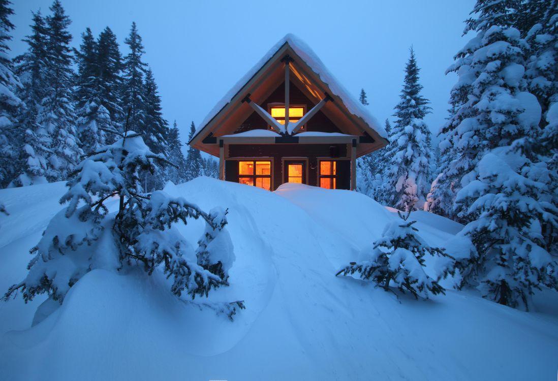 Фото бесплатно зима, лес, снег, сугробы, деревья, домик, пейзаж, пейзажи