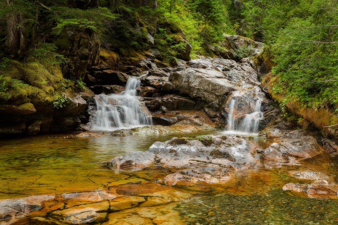 Фото бесплатно водопад, лес, скалы - на рабочий стол