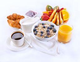Заставки завтрак, хлопья, ягоды, кофе, фрукты