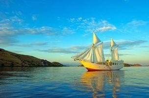 Photo free sea, yacht, landscape