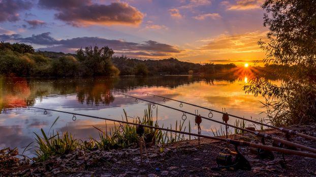 Фото бесплатно берег, рыбалка, река