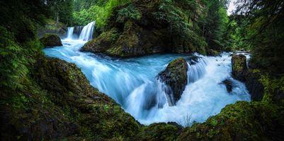 Фото бесплатно река, водопад, скалы, лес, деревья, пейзаж