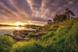 Фото бесплатно река, трава, небо