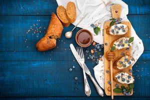 Бесплатные фото завтрак,бутерброды,мёд