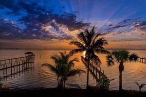 Бесплатные фото Флорида,закат,море,пальмы,пляж,пейзаж