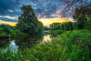 Фото бесплатно В садах дворца Аугустусбург в Брюле, Германия, закат