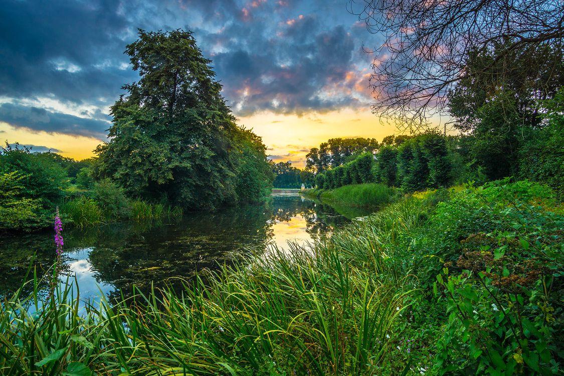Фото бесплатно В садах дворца Аугустусбург в Брюле, Германия, закат, река, канал, парк, деревья, пейзаж, пейзажи