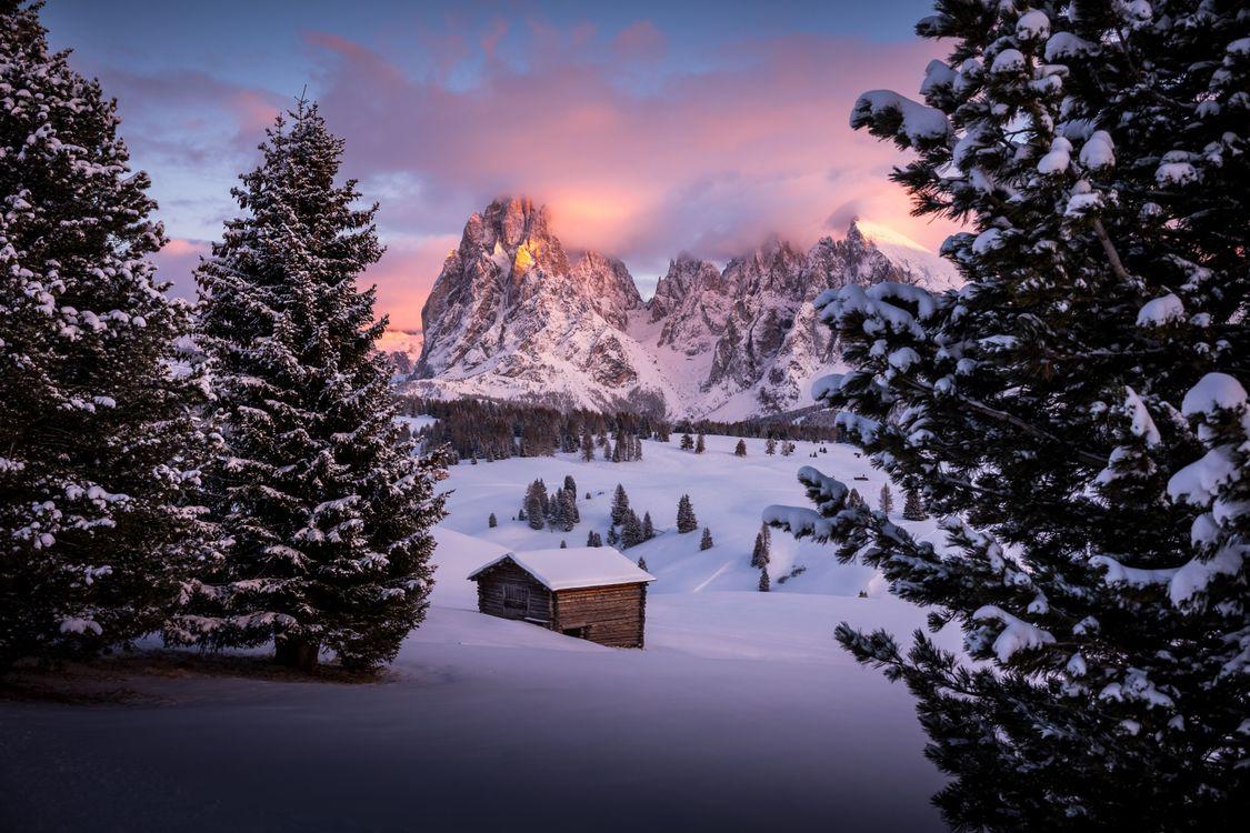Фото бесплатно Сейзер Альм, Южный Тироль, Доломиты, Италия, зима, снег, сугробы, закат, горы, пейзаж, пейзажи