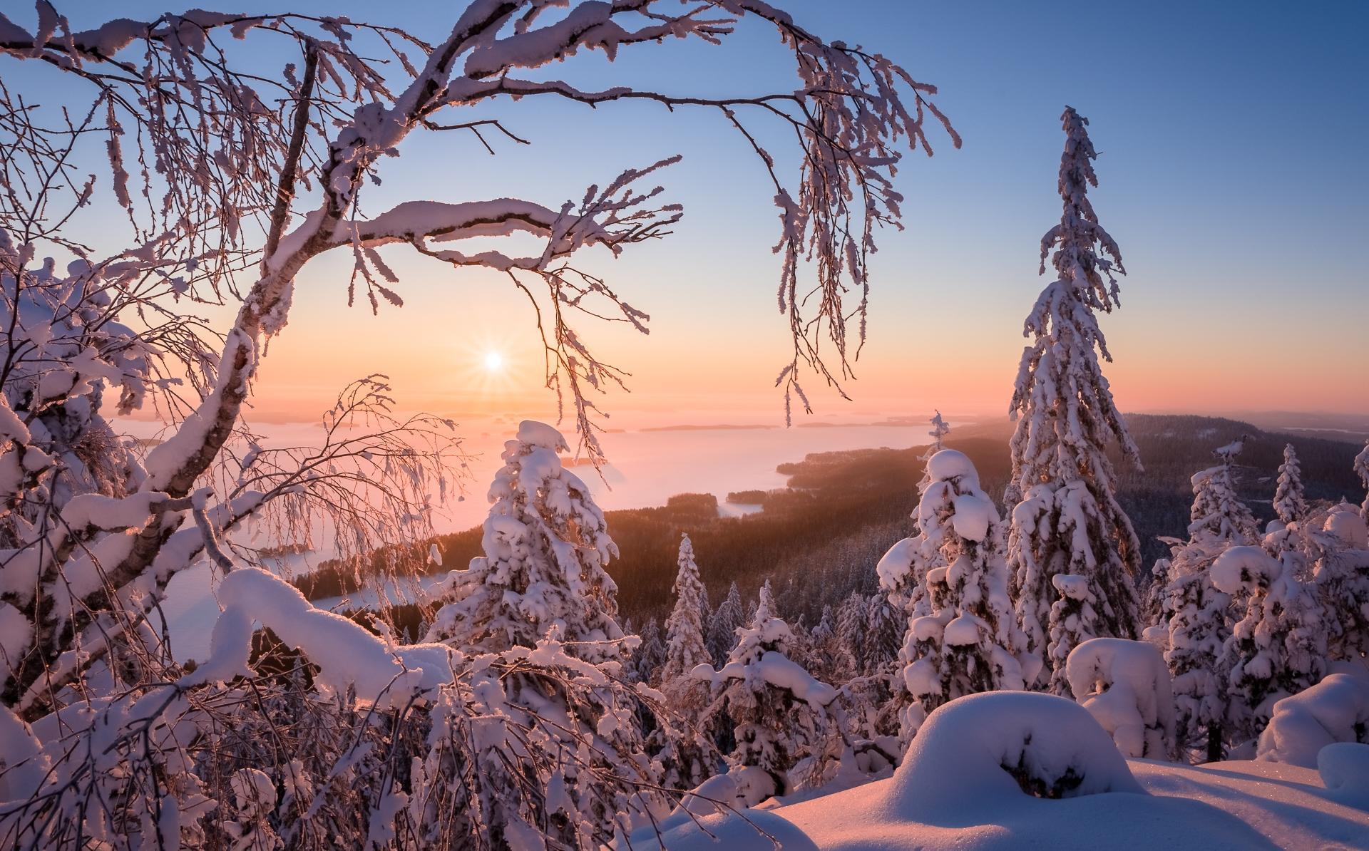 Обои Финляндия, зима, снег, сугробы