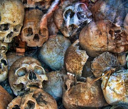 Photo free Skulls of Cambodia, the remains of people, head