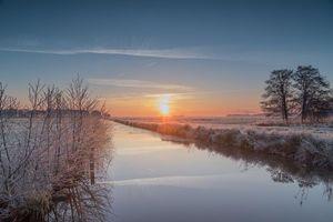 Фото бесплатно закат, река, иней