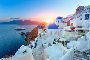 Бесплатные фото Греция,Тира,город,море,остров,корабль
