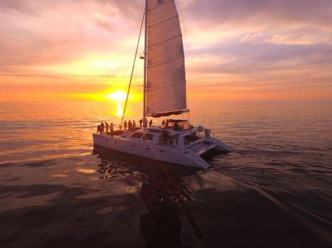 Photo free sea, yacht, sunset