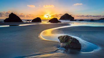 Фото бесплатно море, пляж, закат