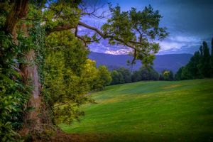 Бесплатные фото закат,поле,горы,холмы,деревья,пейзаж
