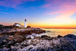 Бесплатные фото Маяк,Мыс Элизабет,Мэн Портленд-Харбор,Залив Мэн,Portland Head Lighthouse,закат,море