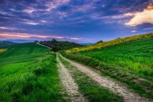 Бесплатные фото поле,холмы,трава,дорога,закат,пейзаж