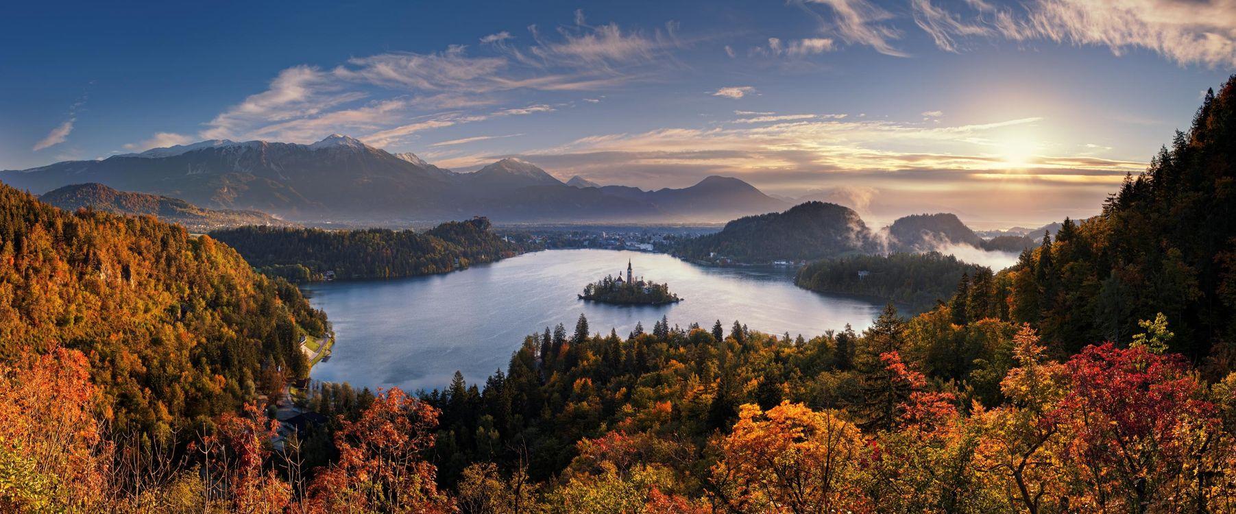 Фото бесплатно панорама озеро Блед Словения - на рабочий стол