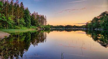 Заставки Norway, Норвегия, закат, озеро, деревья, пейзаж